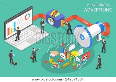 Flat Isometric Vector Concept Of Programmatic Advertising, Social Media Campaign.