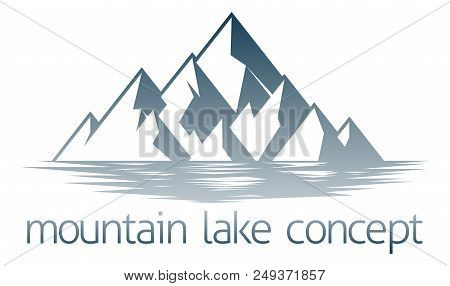 An Illustration Of A Mountain Range Over A Lake Or River