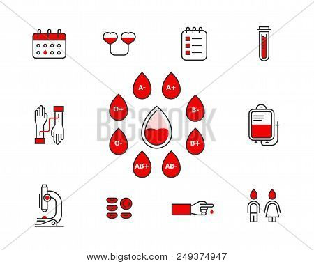 Blood Donation Vector Icon Set Isolated On White Background . Blood Transfusion Concept Illustration