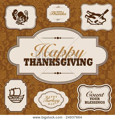 Vector Fall and Thanksgiving Frame Set. Easy to edit. Perfect for invitations or announcements.