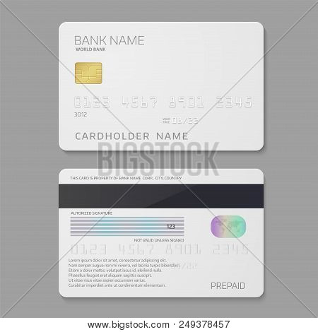 Bank Credit Card Template. Payment Plastic Card For Cardholder To Pay A Merchant For Goods And Servi
