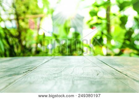 Blank  Old Wood Table Top With Blur Green Background In The Garden And Morning Time.for Montage Prod