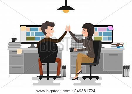 Give Me High-five! Two Business Man And Woman Giving High-five And Holding Coffee Cups With Smile Wh