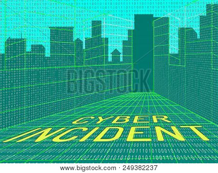 Cyber Incident Data Attack Alert 3D Illustration