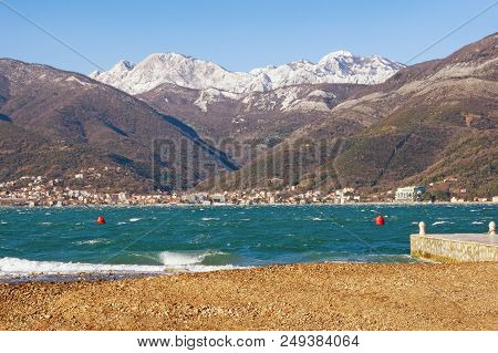 Windy Winter Day In Montenegro. View Of Bay Of Kotor (adriatic Sea) Near Tivat City