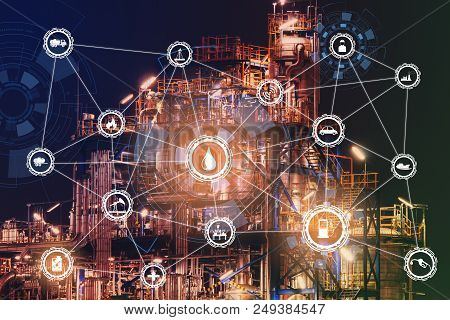 4.0 Advanced Industrial Concept The Industry Has Cyber Icons And Internet Applications. Industrial E