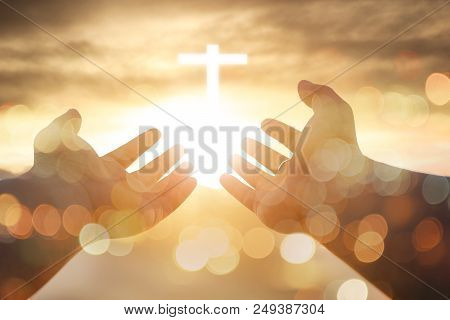 Christian Man With Open Hands Worship Christian. Eucharist Therapy Bless God Helping Repent Catholic