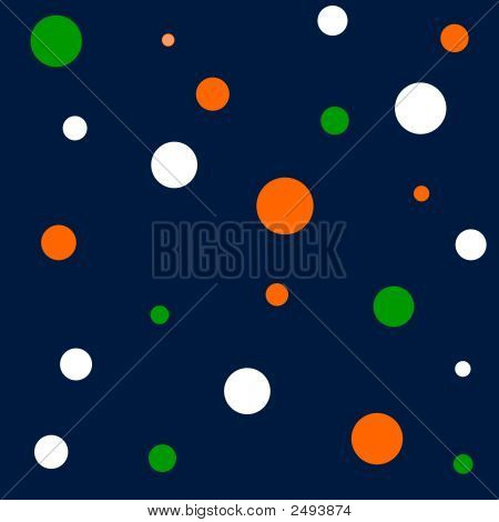 Navy And Green Polka Dots