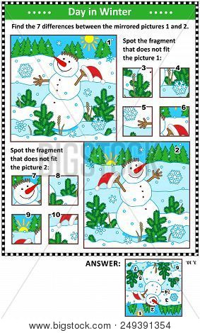 New Year Or Christmas Visual Puzzles With Cheerful Snowman. Find The Differences Between The Mirrore