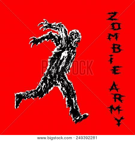 Zombie Soldier Runs With His Hands Up Behind His Back. Zombie Army. The Horror Genre. Vector Illustr