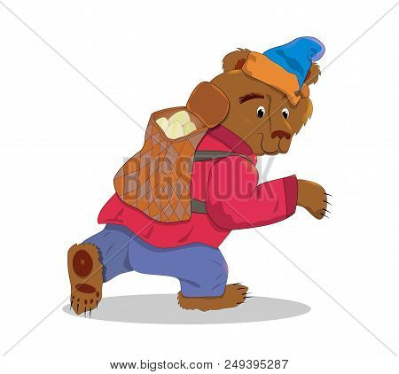 Cartoon Brown Bear In A Hat With A Backpack Full Of Pies. Vector Illustration Of Cartoon Bear