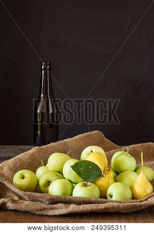Ripe Red And Green Apples On Wooden Background. Apples In Bowl. Garden Fruits. Autumn Fruits. Autumn