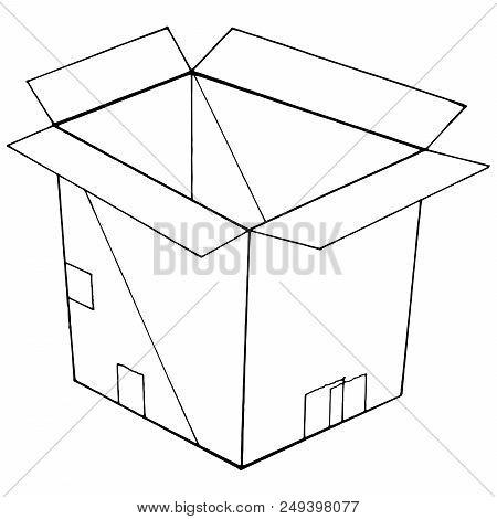 Box. Cardboard Box. Vector Of An Open Box. Hand Drawn Open Box.