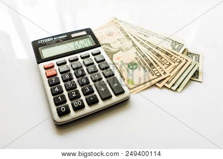 Calculator With Us Dollars, Calculator And Money Banknote, Finance And Savings, American Dollar Bank