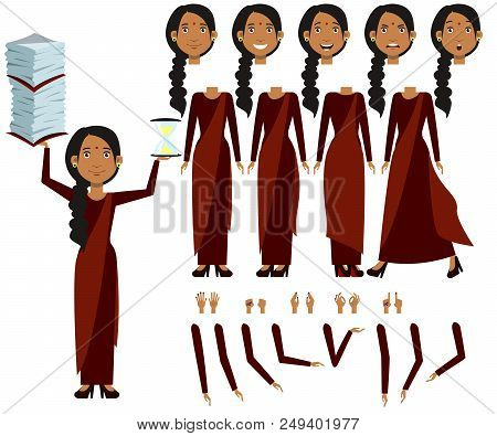 Flat Icons Set Of Indian Woman Views, Poses And Emotions. Woman Holding Stack Of Documents And Hourg