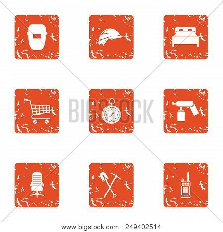 Risky Worker Icons Set. Grunge Set Of 9 Risky Worker Vector Icons For Web Isolated On White Backgrou
