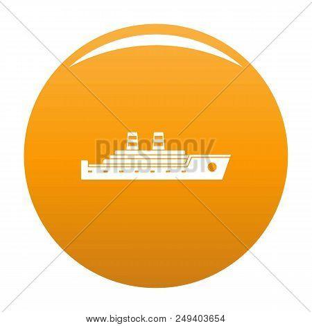 Ship Passenger Icon. Simple Illustration Of Ship Passenger Vector Icon For Any Design Orange