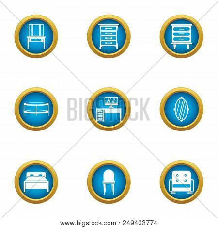 Wood Table Icons Set. Flat Set Of 9 Wood Table Vector Icons For Web Isolated On White Background