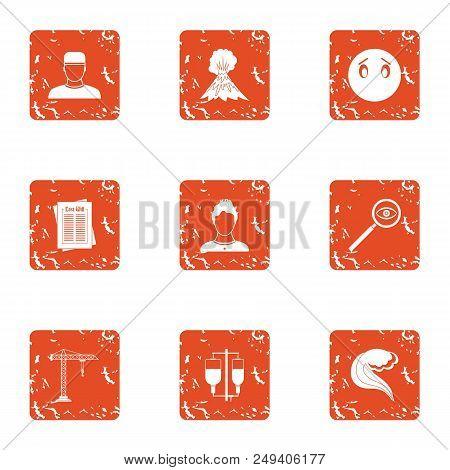 Rebuild Icons Set. Grunge Set Of 9 Rebuild Vector Icons For Web Isolated On White Background