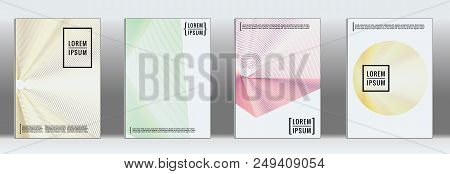 Retro Placards. Minimal Geometric Annual Report Templates. Set Of Abstract Hipster Covers With Gradi