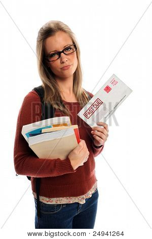 Female student holding past due envelope isolated over white background