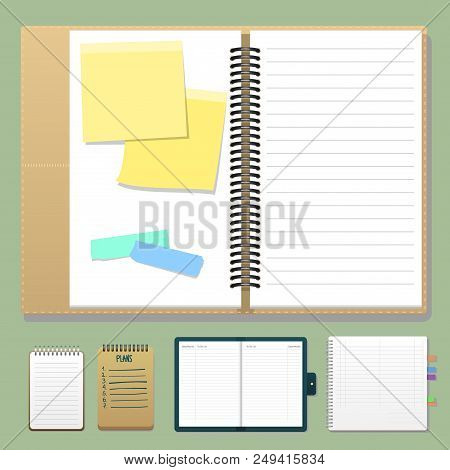 Set Of Open Realistic Notebooks With Pages Diary Office Sheet Template Booklet And Blank Paper Educa