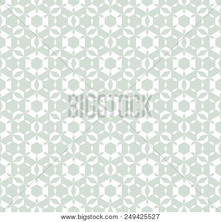 Subtle Vector Geometric Seamless Pattern. Retro Vintage Texture With Icy Figures, Hexagonal Elements