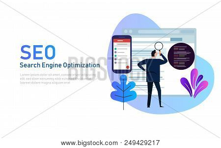 Modern Flat Design Concept Of Seo Search Engine Optimization For Website And Mobile Website. Landing