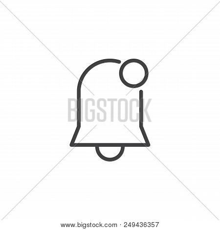 Notification Bell Outline Icon. Linear Style Sign For Mobile Concept And Web Design. New Notificatio