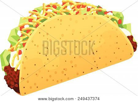 Crispy Taco With Ground Beef, Shredded Lettuce, Sour Cream, Grated Cheese, And Diced Tomatoes And On