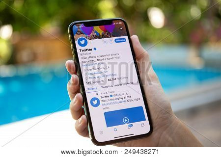 Koh Samui, Thailand - March 21, 2018: Woman Hand Holding Iphone X With Social Networking Service Twi