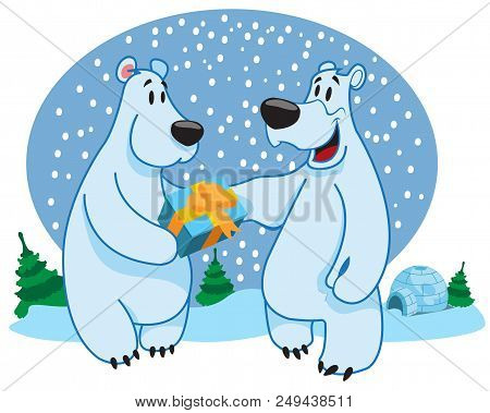 Polar Bears, White Bear, New Year Vector Illustration