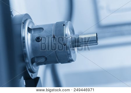 The Cnc Lathe Machine Or Turning Machine  Cutting The Thread At The End Of  Metal Pipe Or Tube. Mode