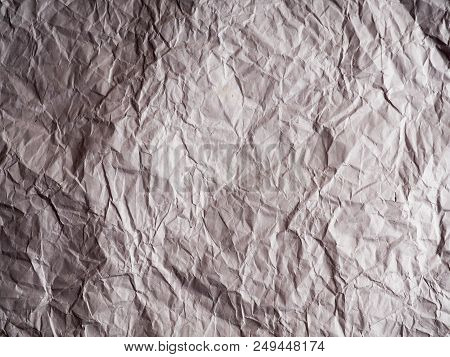 White Crumpled Paper Texture Background, Brown Recycle Crumpled Paper For Background : Crease Of Bro