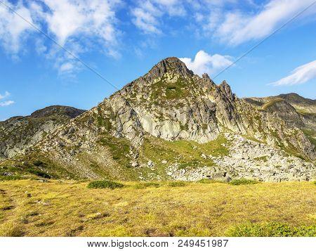 Rila Mountains August View, Haramijata Peak, Also Known As Hajduta Peak On A Sunny Summer Day