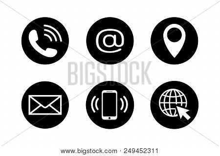 Contact Icons In Black Circles In Flat Style. Telephone, Mail, Mobile Phone, Email, Location And Web