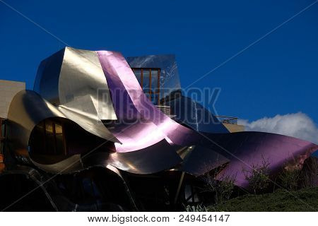 Elciego, Alava , Spain. April 23, 2018: Detail Of The Wine Colored Metallic Corrugated Structures Of