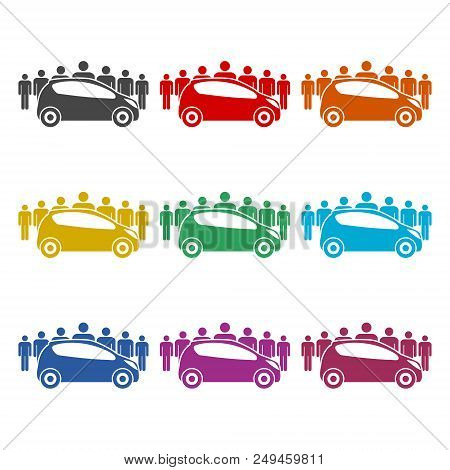 Car Sharing Icon, Car Sharing Symbol, Color Icons Set