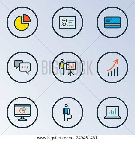 Job Icons Colored Line Set With Introducing, Pie Chart, Computer Analytics And Other Pie Chart Eleme