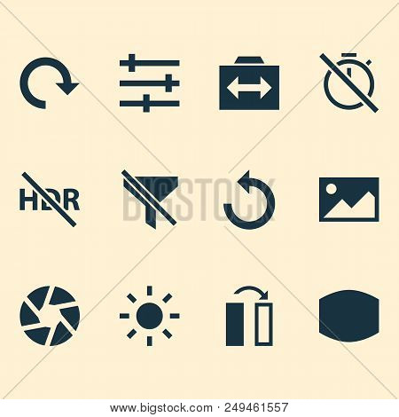 Photo Icons Set With Reload, Filtration, Wide Angle And Other Picture Elements. Isolated Vector Illu