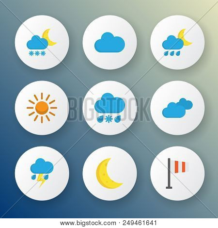 Climate Icons Flat Style Set With Outbreak, Frost, Cloudy And Other Frosty Elements. Isolated Vector
