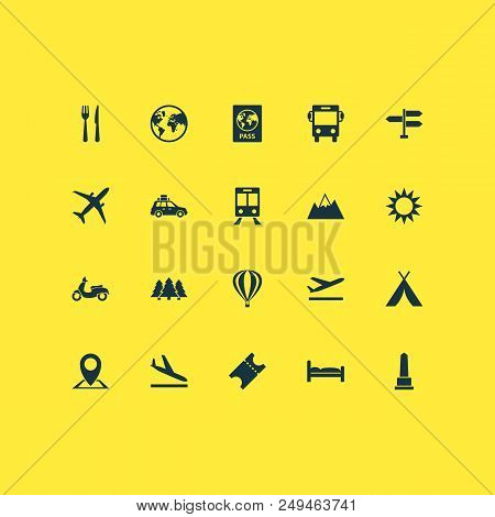 Journey Icons Set With Bus, Sun, Train And Other Pickup Elements. Isolated  Illustration Journey Ico