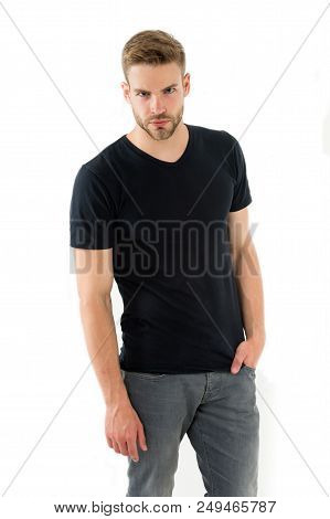 Confident In His Style. Man With Bristle Confident Strict Face Isolated White Background. Man Unshav