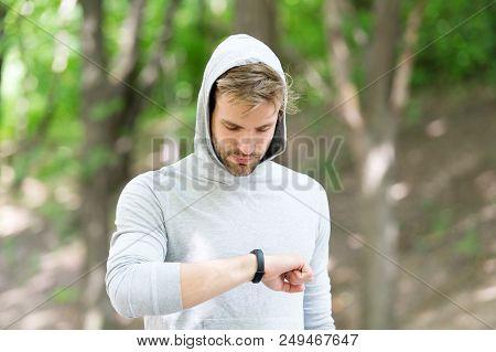 Digital Fitness. Modern Fitness Is Digital. Man With Fitness Bracelet. Digital Marketing In Sport. D