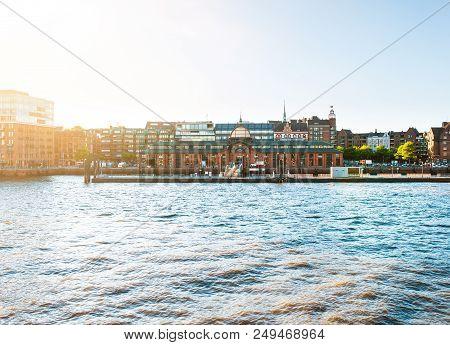 Hamburg Elbe River Waterfront With Historic Fish Market Hall On Sunny Summer Evening