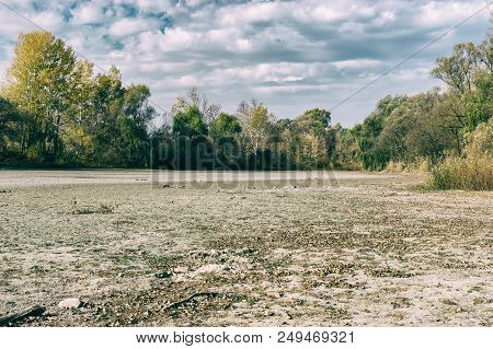 Autumnal Landscape With Dried Up Lake In Village Pidstavky, Sumskaya Oblast, Ukraine