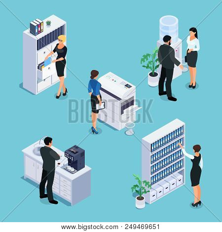 Isometric Office Life Concept. 3d Office With Workers, Furniture And Equipment. File Cabinet, Photoc