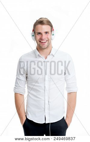 Music always with me. Man listening music headphones. Guy with earphones listens music. Man satisfied happy smiling face enjoy listening music headphones isolated white background. poster