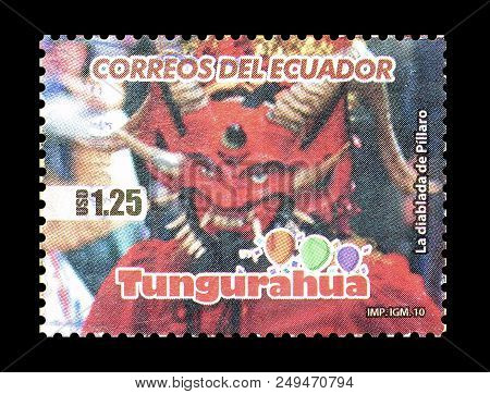 Ecuador - Circa 2009 : Cancelled Postage Stamp Printed By Ecuador, That Shows Traditional Mask.