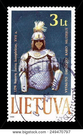 Lithuania -circa 1999 : Cancelled Postage Stamp Printed By Lithuania, That Shows Protective Uniform